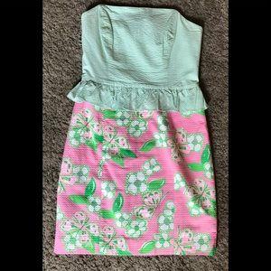 Lilly Pulitzer Strapless Seersucker Dress size 4